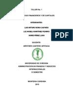 TALLER NO. 1 MERCADOS FINANCIEROS Y DE CAPITAL