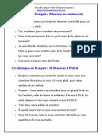 Dailogue en francais Pdf Réserver (un restaurant - un hôtel - un taxi ) (1)