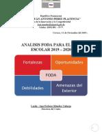 ANALISIS FODA PARA EL AÑO ESCOLAR 2019 – 2020
