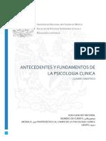 ANTECEDENTES Y FUNDAMENTOS DE LA PSICOLOGIA CLINICA