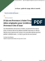 D'Aix-en-Provence à Saint-Tropez, dix idées originales pour (re)découvrir la Provence-Côte d'Azur