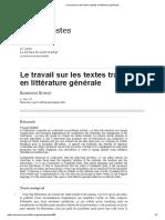 Le travail sur les textes traduits en littérature générale