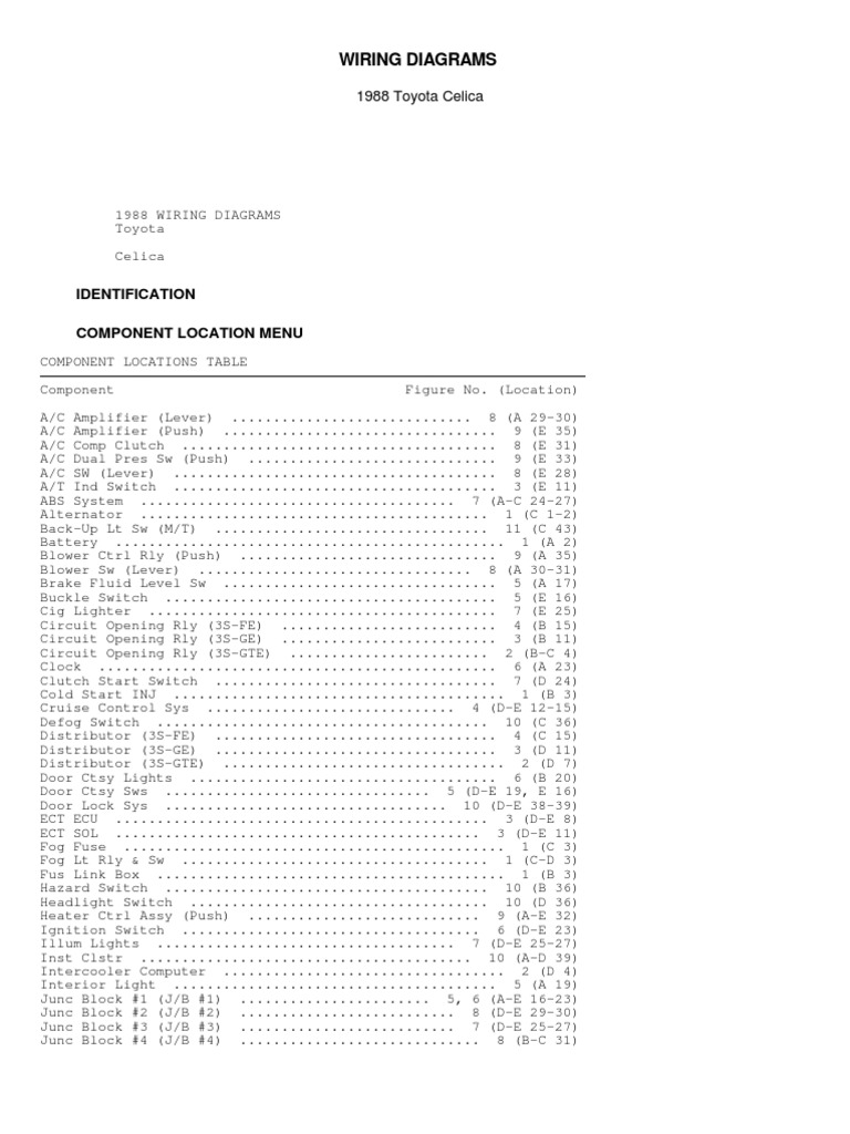 Wiring Diagrams 1997 Toyota Corolla Electrical And Circuit Diagram Document 1538326044v1