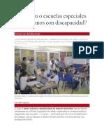 Inclusión o escuelas especiales para alumnos con discapacidad  Nueva Ley de Educación