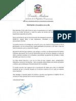 Mensaje de felicitación del presidente Danilo Medina a los padres en su día