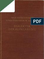 Adorno, Theodor W. &  Horkheimer, Max -  Dialektik der Aufkl+ñrung