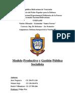 Modelo Productivo y Gestión Pública Venezolana