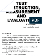 Ricky Pedralba-Test, Measurement and Evaluation
