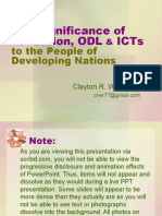 The Significance of Education, ODL & ICTs to the People of Developing Nations, Clayton R. Wright