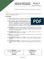 MN-PQC-02 PROGRAMA DE IDENTIFICACIÓN DE PRODUCTOS Y TRAZABILIDAD