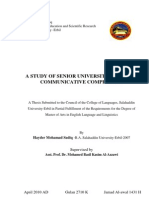 A Study of Senior University Students' communicative competence