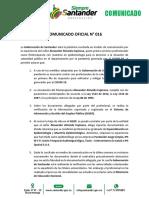 Comunicado Gobernación de Santander