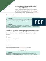 Progresiones aritméticas ascendentes y descendentes