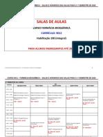 CURSO 9012 – FARMÁCIA-BIOQUÍMICA - SALAS E HORARIOS DAS AULAS PARA O 1º SEMESTRE DE 2020