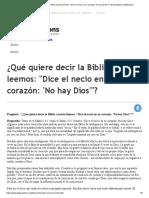 ¿Qué Quiere Decir La Biblia Cuando Leemos_ _Dice El Necio en Su Corazón_ 'No Hay Dios'__ _ GotQuestions.org_Espanol