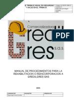 CG-SGSST-MAN-01-MANUAL DE PROCEDIMIENTOS PARA LA REHABILITACION O REINCORPORACION A GREDILGRES SAS