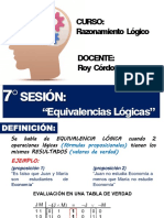 7° SESION - EQUIVALENCIAS LOGICAS
