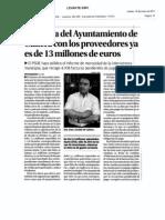 La deuda de Cullera asciende ya a 13 millones de Euros