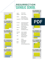 Resurrection K-8 School Calendar 2020-2021