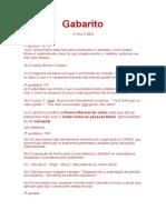 Gabarito 2o Ano A DES. das atividades de Língua Portuguesa