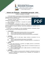 ASSEMBLEIA PAROQUIAL DE AVALIAÇÃO 2019