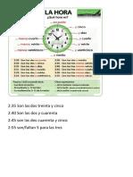 la hora y los horarios