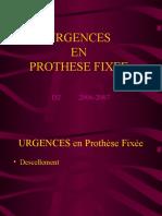 prothèse fixée Urgences