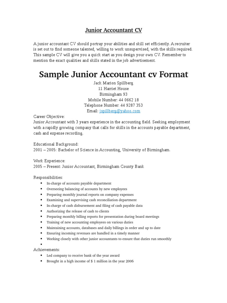 junior accountant cv