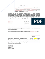 Affid of Service Sample