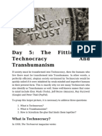 Day 5 - The Fitting of Technocracy and Transhumanism