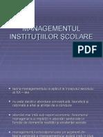 Managementul institutiilor scolare