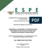 TESIS DE TITULACION PREVIO A LA OBTENCIÓN DEL TÍTULO DE MASTER EN GERENCIA DE SISTEMAS