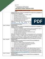 Calendario de Pruebas Historia 1° a 6° Básico S1 2020