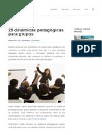 25 dinâmicas pedagógicas para grupos