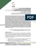 Leandro E. G. Ferreira - O tratamento com expressões ofensivas entre profissionais forenses