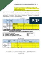 ORIENTACIONES PARA MEJORAR LLENADO DE INFORME MENSUAL DOCENTE