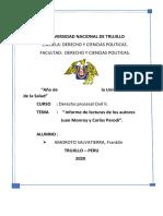 INFORME SOBRE LA POSTULACION DEL PROCESO EN EL CODIGO PROCESAL CIVIL. .docx
