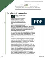 Sergio González Rodríguez sobre La soledad de los animales