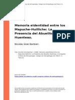 Nicolas Gissi Barbieri. (1998). Memoria eIdentidad entre los Mapuche-Huilliche La Presencia del Abuelito Huenteao
