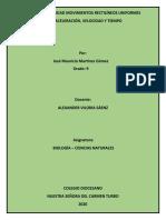 SOLUCION ACTIVIDAD MOVIMIENTOS RECTILÍNEOS UNIFORMES DE LA ACELERACIÓN, VELOCIDAD Y TIEMPO
