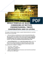 BUILD TEMPLES OF MANY MORE CORRIDORS OF MUTUAL UNDERSTANDING, TRUST, COOPERATION AND CO-LIVING
