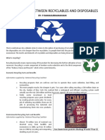 1 A COMPARISON BETWEEN RECYCLABLES AND DISPOSABLES