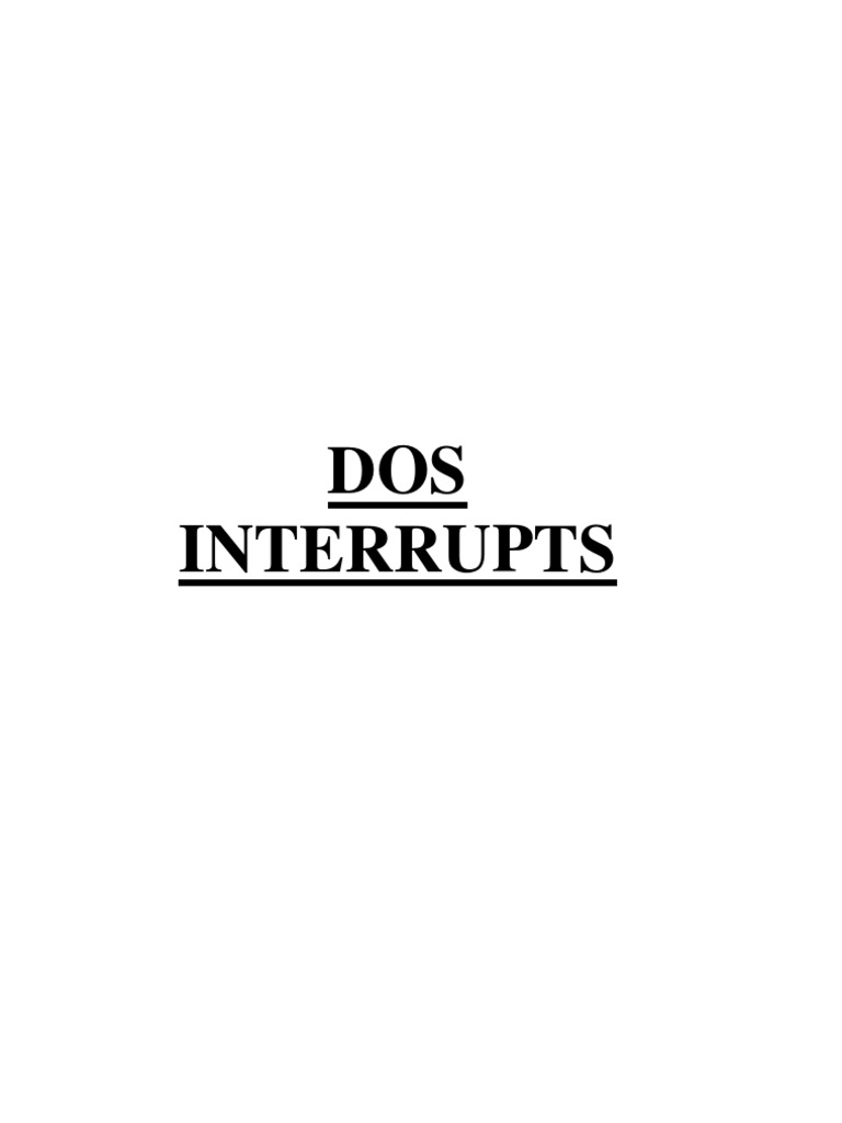 DOS interrupts | Video Game Platforms | Computer Engineering