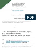 lógica - Qual a diferença entre os operadores lógicos NOT, AND e OR_ - Stack Overflow em Português