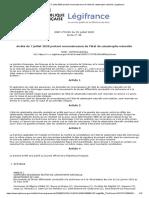 Arrêté Du 7 Juillet 2020 Portant Reconnaissance de l'État de Catastrophe Naturelle