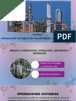 operaciones unitarias de destilación, extracción, adsorción y desorción