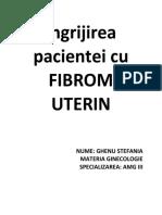 Ingrijirea pacientei cu FIBROM UTERIN