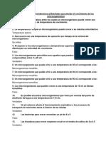 Cuestionario #4.- Condiciones ambientales que afectan el crecimiento de los microorganismos
