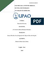 ANALISIS FILOSOFICO DE UN FRAGAMENTO DEL CODIGO DE ETICA DEL ABOGADO.