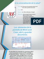 los  elementos de la pantalla de word 2016. Crear, abrir y guardar documento grupo 2.pptx
